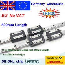 【EU】20mm Square Linear Guide Rail L500mm+ 4pcs Block Slider Carriages CNC Router