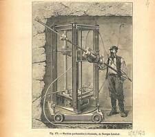 Machine perforatrice à diamants  Alpes tunnel de l'Arlberg Autriche GRAVURE 1884
