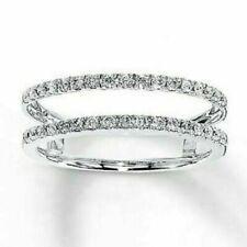Gold Over Women Enhancer Wrap Wedding Band 0.75 Ct Round Cut Diamond 14K White