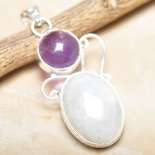 """Fire White Rainbow Moonstone Opal 925 Sterling Silver 2.25"""" Pendant #P14640"""