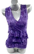 Sweet Pea Stacy Frati Tank Top Medium Purple Sleeveless Ruffle Surplice Womens