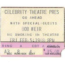 Go Ahead With Bob Weir Concert Ticket Stub Phoenix Az 2/5/88 Grateful Dead Rare