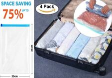 4 Roll Up Compression Vacuum Storage Bags Travel Home Luggage Space Saver Bags