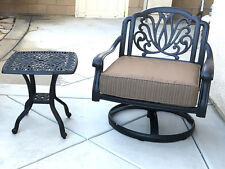 Patio set of 2 cast aluminum furniture Swivel Club chair and Elisabeth end table