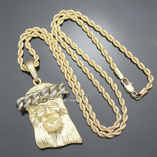 Catholic Religious Gold Jesus Cross Medals Christ Twist Rope Chain Necklace