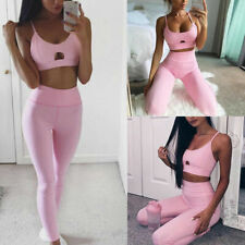 Women Yoga Fitness Exercise Bra+Pants Leggings Set Gym Workout Sports Wear Suits