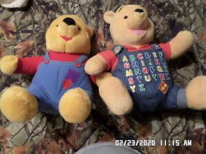 LOT of 2 Disney Winnie The Pooh Plush Stuffed Bear Alphabet Talking Toy