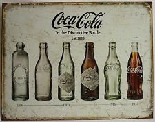 COCA-COLA BOTTLE EVOLUTION METAL SIGN Tin NEW Coke Soda Vintage Antiqued Repro
