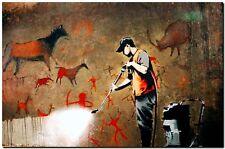 "BANKSY STREET ART *FRAMED* CANVAS PRINT Cave Painting spray paint 20x16"""