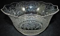 "Antique Glass Upturned 4"" Gas Oil Lamp Shade Victorian Floral Motif Zig Zag Rim"