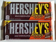 NEW TWO HERSHEY'S FILLED WITH REESE'S PIECES MILK CHOCOLATE CANDY BAR 1.55 OZ