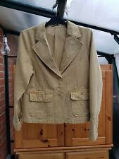 Atmosphere Beige Cargo Jacket, Collared, Long Sleeves, 100% Cotton, Size 12, GC