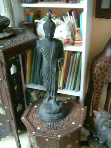 Antique Large Over 2 Foot Tall Thai Dark Patinated Bronze Standing Buddha.
