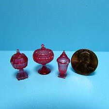 Dollhouse Miniature Chrynsbon Candy Dish Set in Cranberry ~ CB68CR