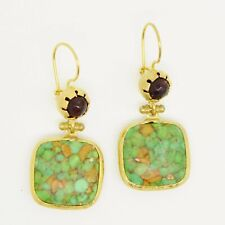 Aylas Agate Turquoise earrings - Gold plated semi precious gemstone - Handmade i