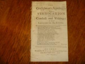 1732 Swithin Adee. The Craftsman's Apology. Being a Vindication of his Conduct