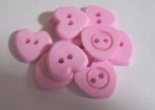 10 x PINK Good Quality Plastic 2-hole HEART shape buttons 14mm wide  (FG5C/P)