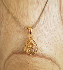 Joan Rivers Gold Tone Multicolored Faux Pearl Cage Pendant Necklace Teardrop