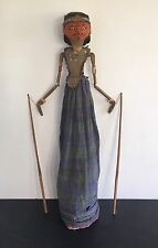 Viejo palillo Antiguo Vintage javanés marioneta sombra giratorio doble cabeza Marionetas