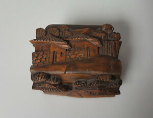 vintage hand carved wood trinket box houses huts trees