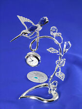 Libélula colibrí con Swarowski CRISTALES equipado EN PLATA CHAPADO CON RELOJ