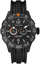 A17617G Nautica BFD 100 Mens Watch Black Dial Black Rubber Strap N17617G NEW
