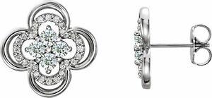 Diamond Clover Earrings In Platinum (5/8 CTW)