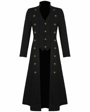 New Mens Handmade Steampunk Military Gothic Black Long Trench Coat (All Sizes)