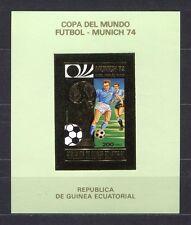 s5146) GUINEA ECUATORIAL 1974 MNH** WC Football -CM Calcio S/S IMPERF GOLD