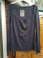 BSK Dark Grey Long Sleeved T Shirt, 100% Cotton, Square Neck, Size L (10/12) VGC