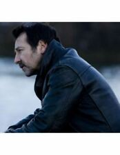 Braquo Jean Hugues Anglade - Eddy Caplan Black Real Leather Jacket Biker Style