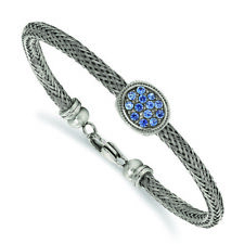 Chisel Stainless Steel Polished and Textured Blue Crystal 7.25 in. Bracelet 7.25
