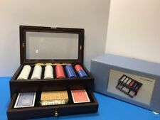 NEW  Deluxe Poker Set & Cherry Wood Case With Glass top and Drawer