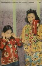 San Francisco Chinatown Chinese Girls Costume Firecrackers LINEN Postcard