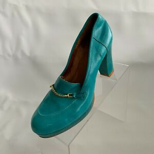 Lucky Penny Loafers Platform Heels Blue Turquoise Leather Chain Design Shoes 8M
