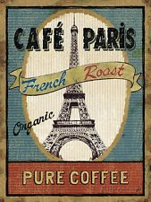 METAL VINTAGE SHABBY-CHIC TIN SIGN CAFE PARIS PURE COFFEE WALL PLAQUE