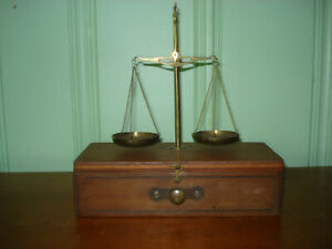 Very unusual antique wooden trinket box & justice scales great gift for Libra