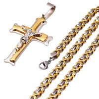 Men Stainless Steel Gold Silver Cuban Jesus Cross Pendant Necklace Link Chain