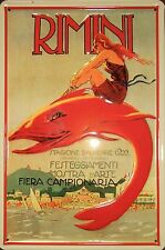 Rimini 1922 Blechschild 20x30cm Italien Meer Reklame Werbung Stagione Balneare