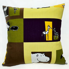 AL242a Purple Yellow Zoo Animal Cotton Canvas Cushion/Pillow Case Custom Size