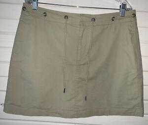 Dockers Skort Sz 12 Khaki Cotton Stretch Casual Skirt Zip Fly Drawstring EUC