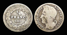 Belgique RARE 1/4 Franc 1834 Léopold 1er Tête laurée - Argent 1.10 gr