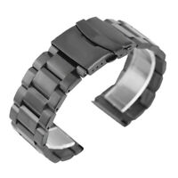 18 20 22 24mm Black Solid Stainless Steel Watchband Folding Clasp Replacement