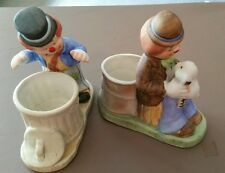 2 Hobo Living Porcelain Candle Holders Clown Handcrafted Jasco