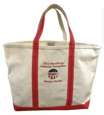 *XLARGE BOAT TOTE * LL BEAN SHOPPER PURSE CANVAS  RNC ROMNEY CONVENTION 2012 FLA