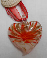 Murano glass necklace heart shaped orange gold stripes with cord ribbon necklace