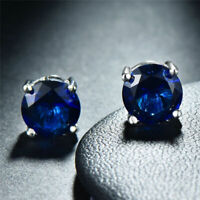 14K GOLD SAPPHIRE 2.86 CARAT ROUND SHAPE STUD PUSH BACK EARRINGS  80% SALE!