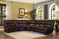 Modern Living Room Sectional - Brown Faux Leather Power Reclining Sofa Set IF67