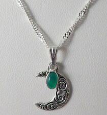 Crescent Moon Collier Avec Sterling Silver Green Onyx Charme. Pagan, Wiccan