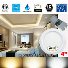 """4X 9W 4"""" Cool White LED Recessed Ceiling Panel Down Light Fixture w/Junction Box"""